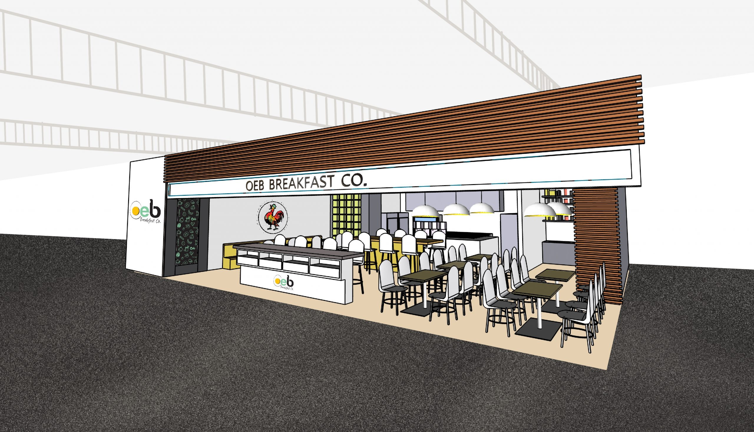 store front 3d rendering interior
