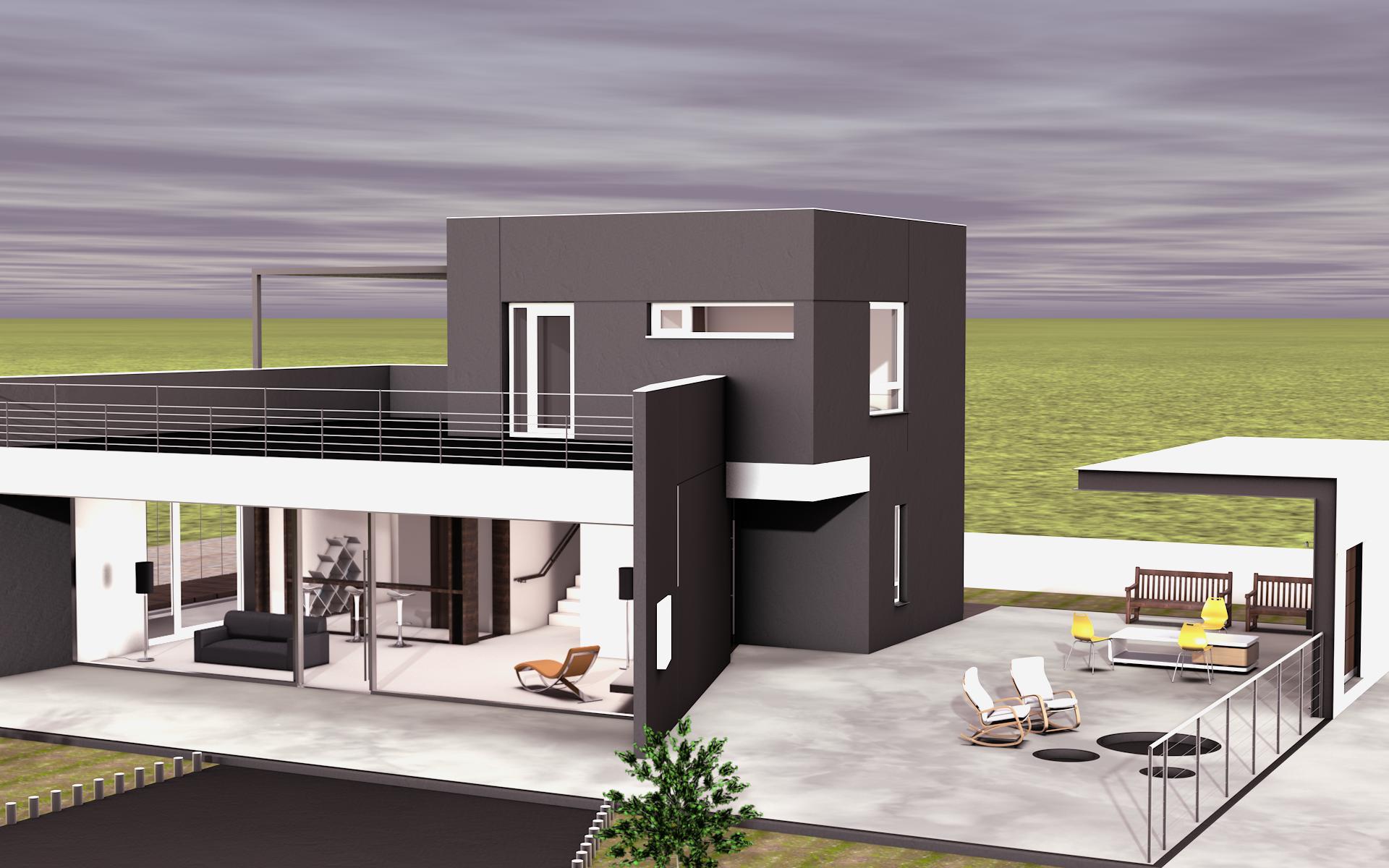 modern house residential exterior 3d render