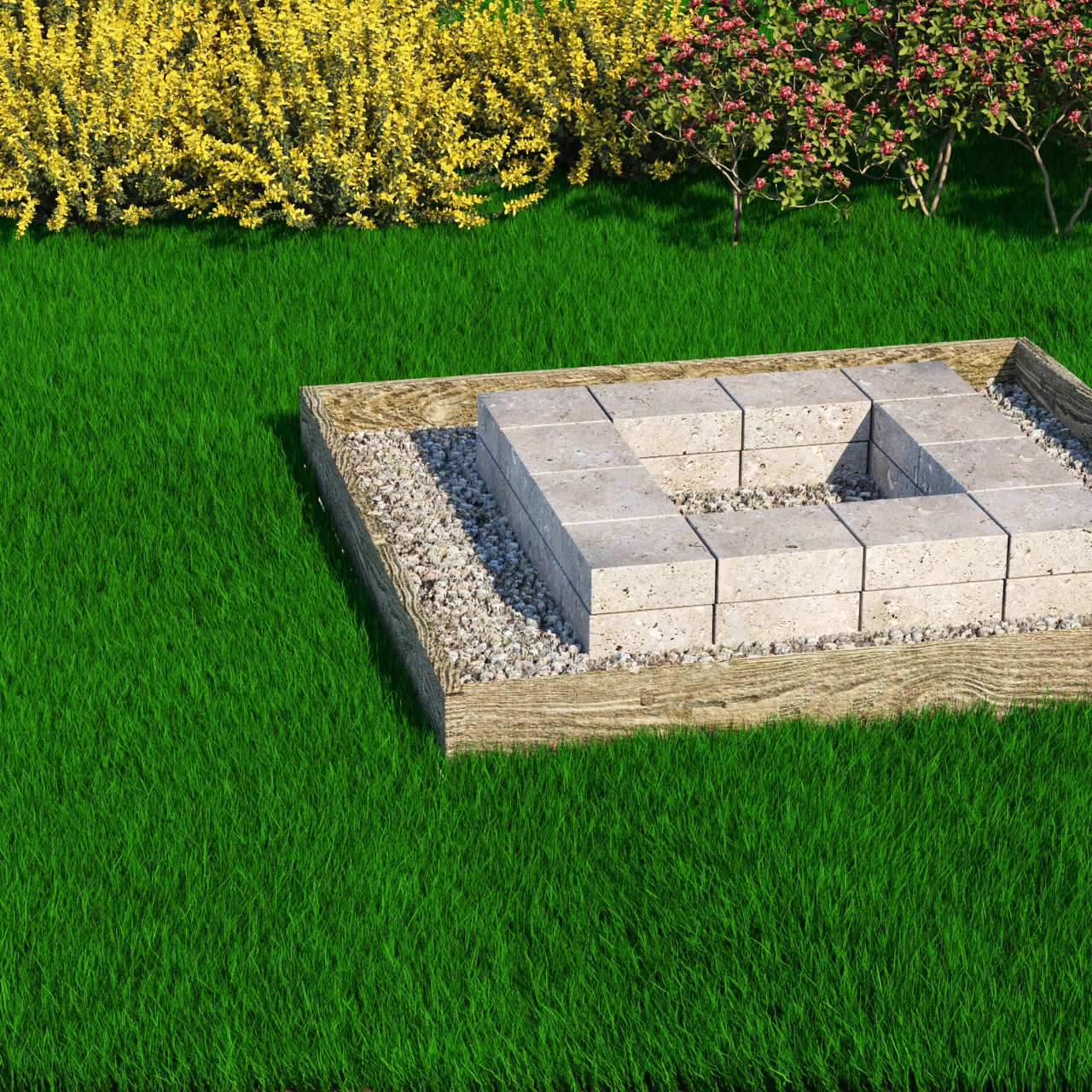 landscape 3d rendering exterior kingston firepit